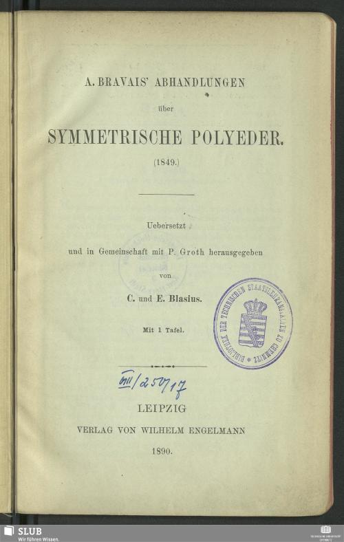 Vorschaubild von A. Bravais' Abhandlungen über symmetrische Polyeder (1849)