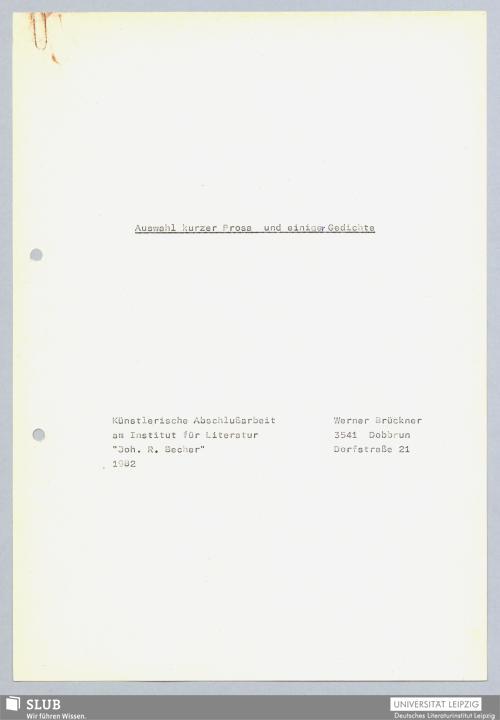Vorschaubild von Auswahl kurzer Prosa und einiger Gedichte
