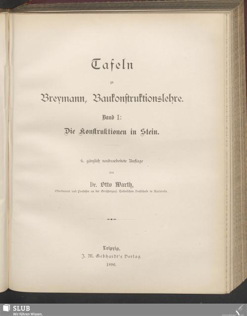 Vorschaubild von Tafeln zu Breaymann, Baukonstruktionslehre. Band I: Die Konstruktionen in Stein