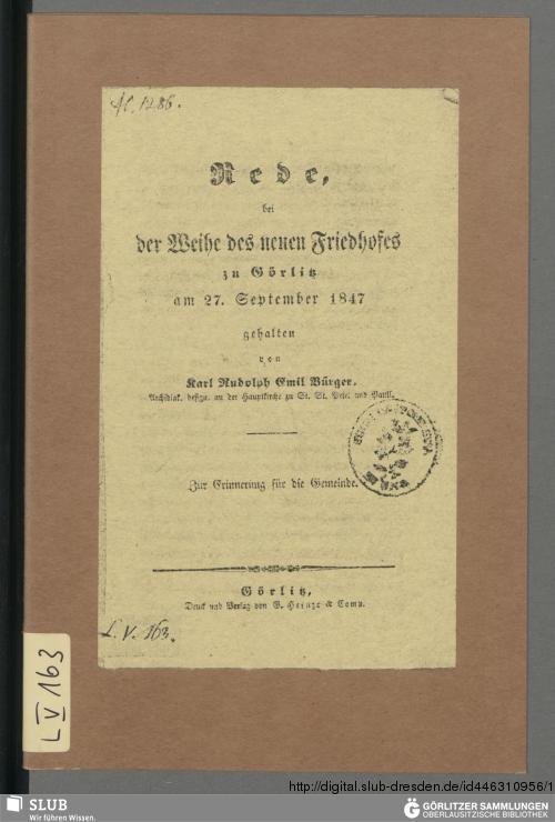 Vorschaubild von Rede, bei der Weihe des neuen Friedhofes zu Görlitz am 27. September 1847