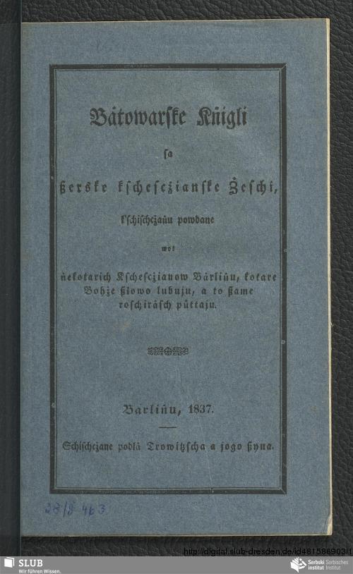 Vorschaubild von Bȧtowarske Kṅigli sa ßerske kschescżianske Żeschi,