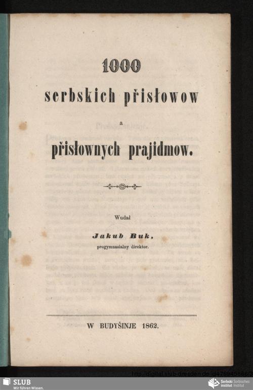 Vorschaubild von 1000 serbskich přisłowow a přisłownych prajidmow
