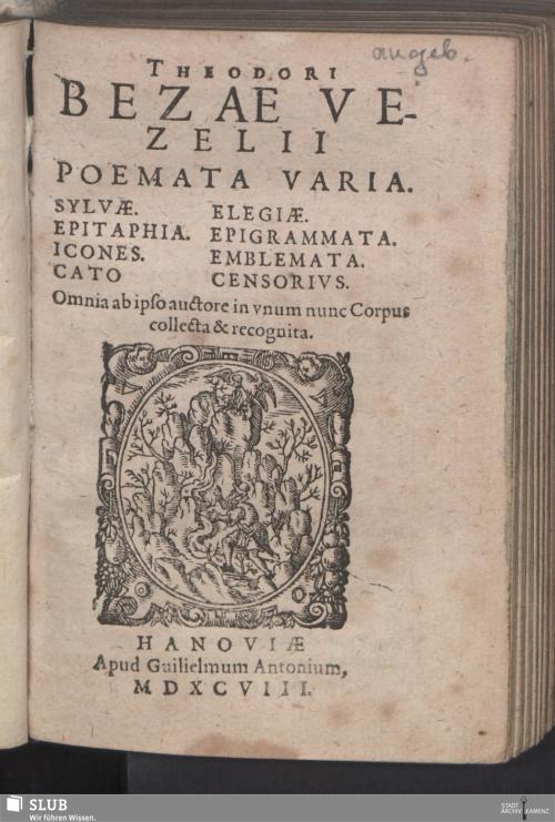 Vorschaubild von Theodori Bezae Vezelii Poemata Varia