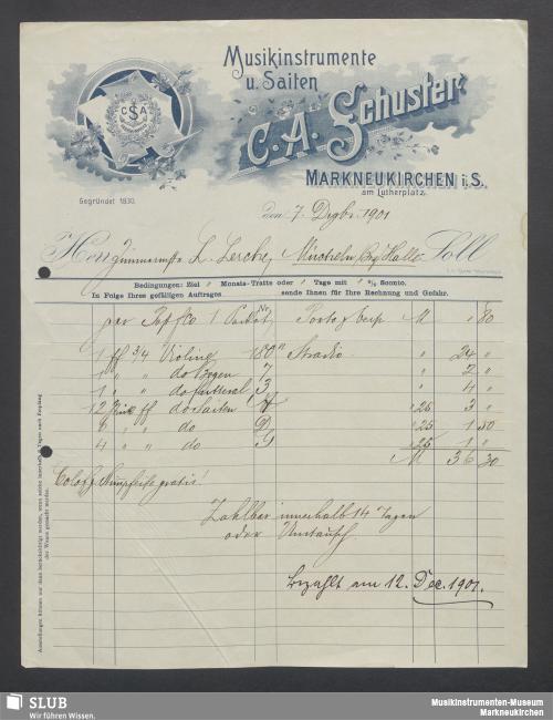 Vorschaubild von C. A. Schuster, Musikinstrumente u. Saiten, Markneukirchen i. S.