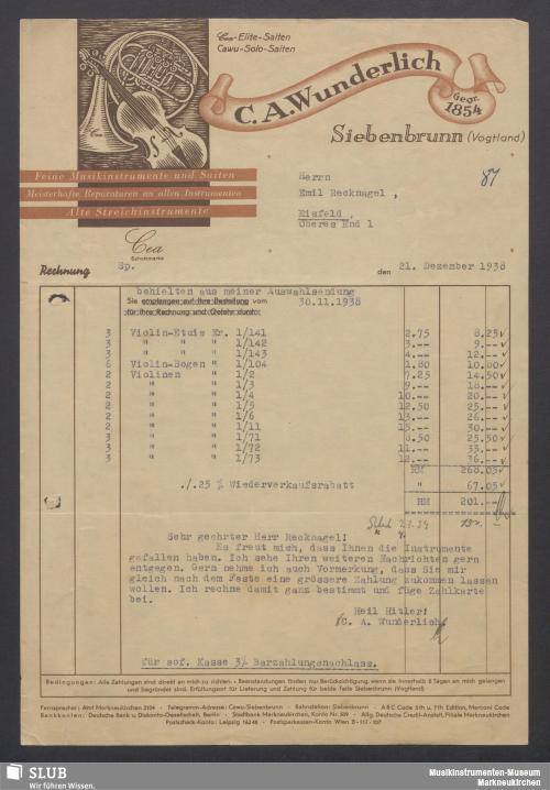 Vorschaubild von C. A. Wunderlich, Siebenbrunn (Vogtland), Feine Musikinstrumente und Saiten, Meisterhafte Reparaturen an allen Instrumenten, Alte Streichinstrumente