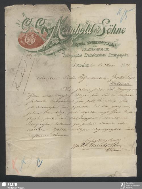 Vorschaubild von C.C. Meinhold & Söhne, Königl. Hofbuchdruckerei und Verlagsbuchhandlung, Dresden