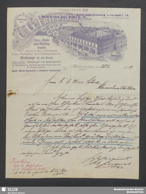 Vorschaubild von C. G. Friedrich, Eisen-, Stahl- und Messingwaren, Markneukirchen (Sachsen)