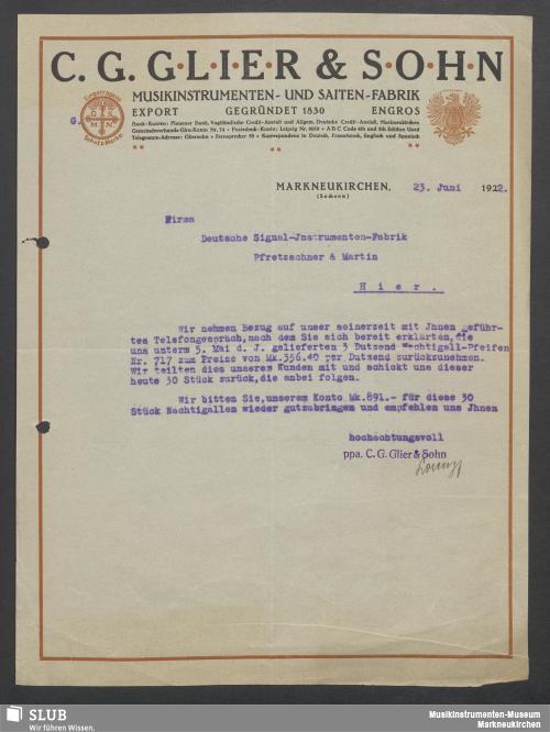 Vorschaubild von C. G. Glier & Sohn, Musikinstrumenten- und Saiten-Fabrik, Markneukirchen (Sachsen)
