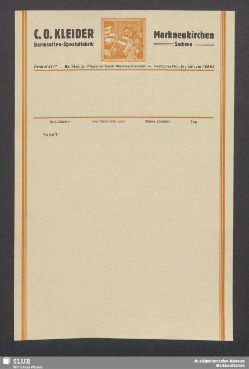 Vorschaubild von C. O. Kleider, Markneukirchen Sachsen, Darmsaiten-Spezialfabrik