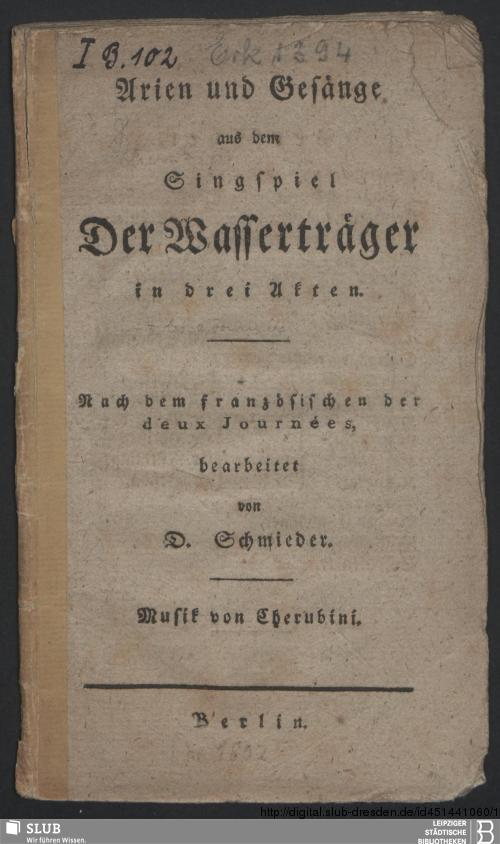 Vorschaubild von Arien und Gesänge aus dem Singspiel Der Wasserträger in drei Akten
