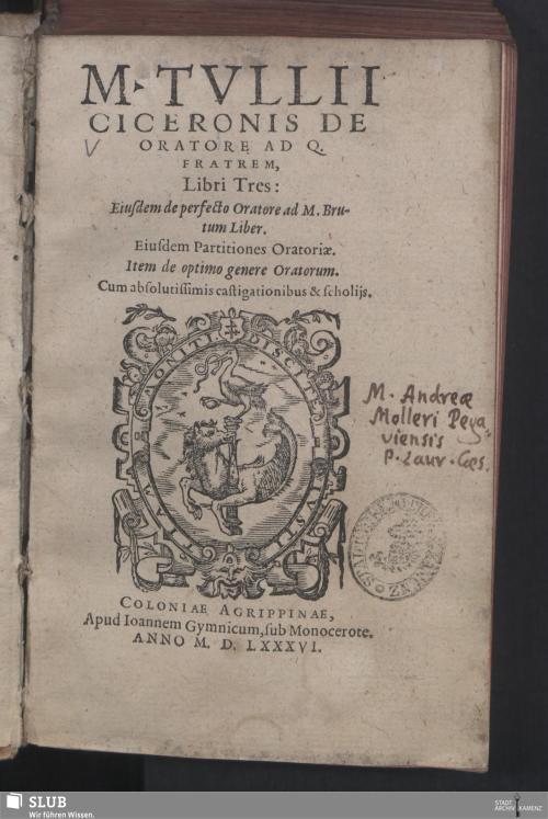 Vorschaubild von M. Tvllii Ciceronis De Oratore Ad Q. Fratrem, Libri Tres