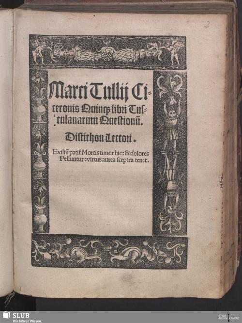 Vorschaubild von Marci Tullij Ciceronis Quinq[ue] libri Tusculanarum Questionu[m]