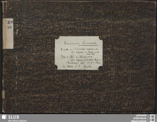 Vorschaubild von 2 Vocal pieces - Becker III.15.37