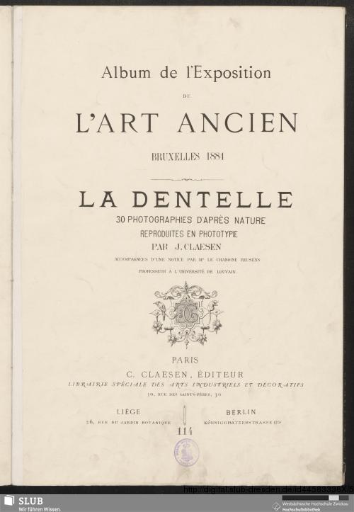 Vorschaubild von Album de l'Exposition de L'Art Ancien, Bruxelles 1884