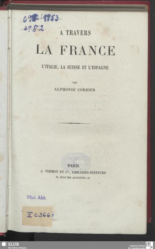 Vorschaubild von A Travers la France, l'Italie, la Suisse et l'Espagne