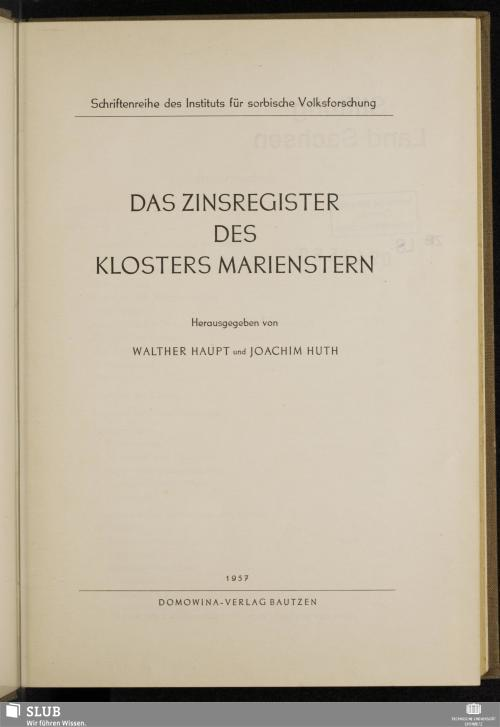 Vorschaubild von Das Zinsregister des Klosters Marienstern