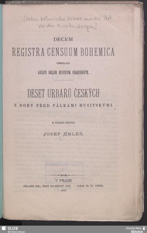 Vorschaubild von Decem registra censuum Bohemica compilata aetate bellum Husiticum praecedente