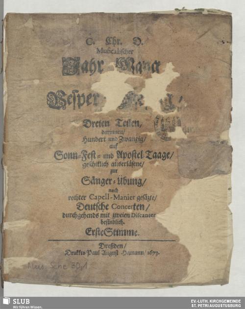 Vorschaubild von C. Chr. D. Musicalischer Jahr-Gang, und Vesper-Gesang