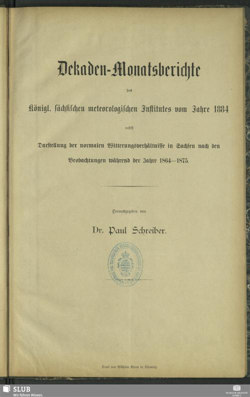 Vorschaubild von [Dekaden-Monatsberichte des Königl. Sächsischen Meteorologischen Institutes]