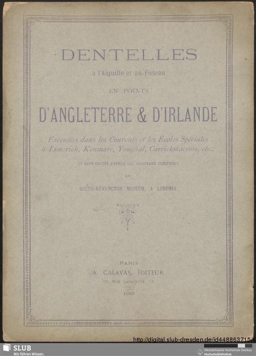 Vorschaubild von Dentelles á l'Aiguille et au Fuseau en points d'Angleterre & d'Irlande