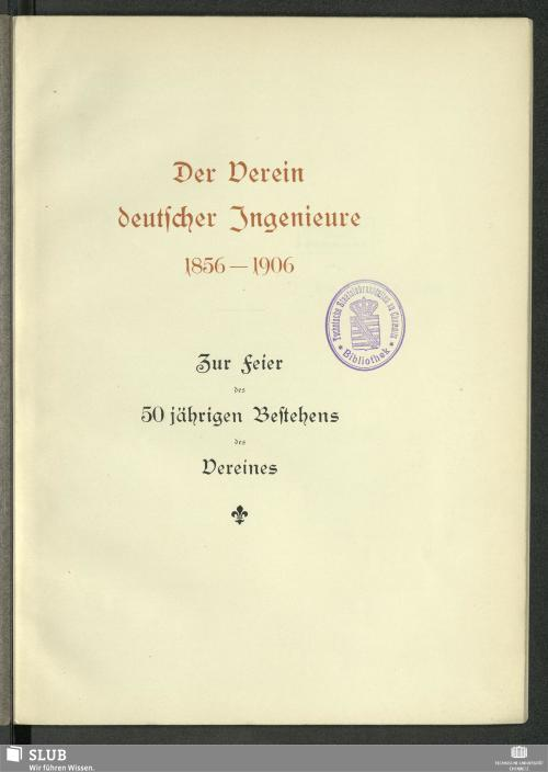 Vorschaubild von Der Verein deutscher Ingenieure 1856 - 1906