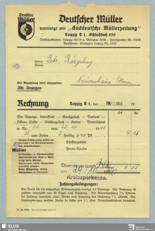 """Vorschaubild von """"Deutscher Müller"""", vereinigt mit """"Süddeutsche Müllerzeitung"""", Leipzig"""