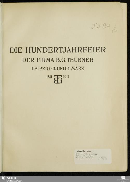 Vorschaubild von Die Hundertjahrfeier der Firma B. G. Teubner