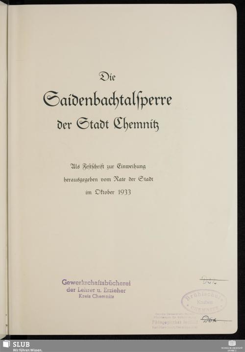Vorschaubild von Die Saidenbachtalsperre der Stadt Chemnitz