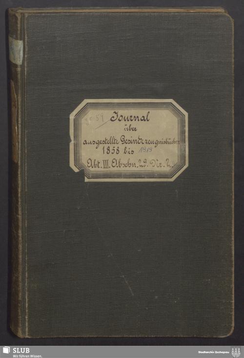 Vorschaubild von Journal über ausgestellte Gesindezeugnisbücher - 3559