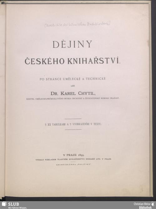 Vorschaubild von Dějiny českého knihařstvi
