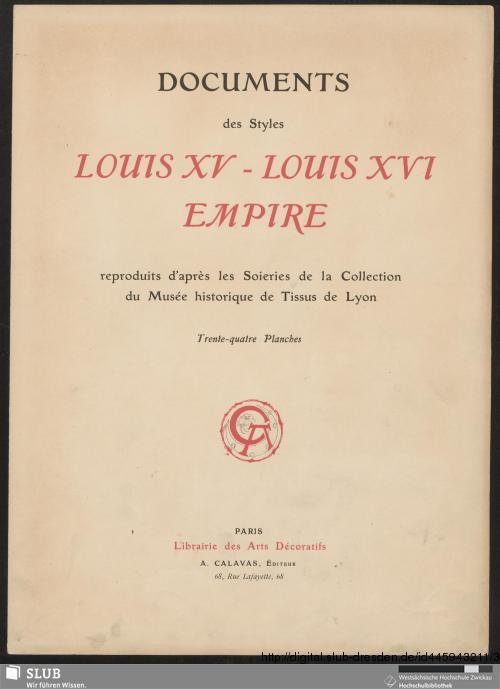 Vorschaubild von Documents des styles Louis XV - Louis XVI Empire