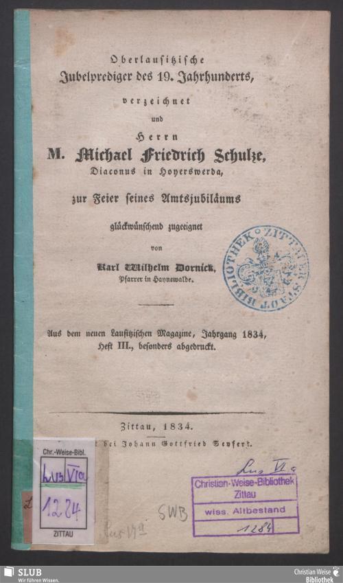 Vorschaubild von Oberlausitzische Jubelprediger des 19. Jahrhunderts verzeichnet u. Herrn Michael Friedrich Schulze ... zugeeignet