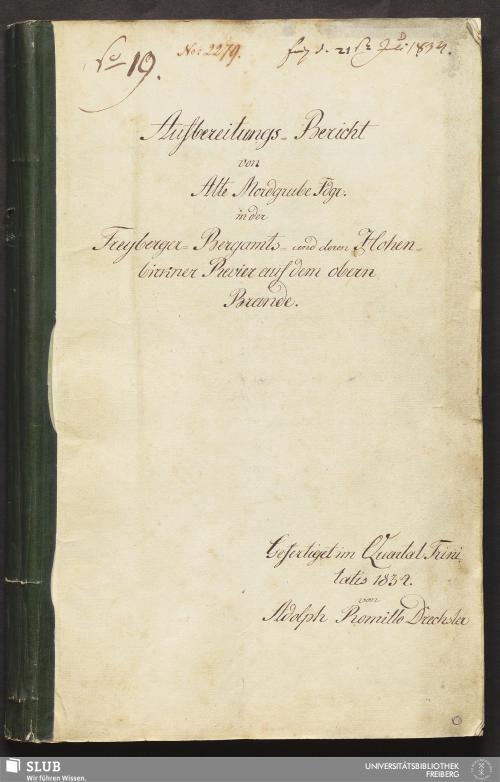 Vorschaubild von Aufbereitungs-Bericht von Alte Mordgrube Fdgr. in der Freyberger-Bergamts- und deren Hohenbirkner Revier auf dem obern Brande - 18.6931 4.