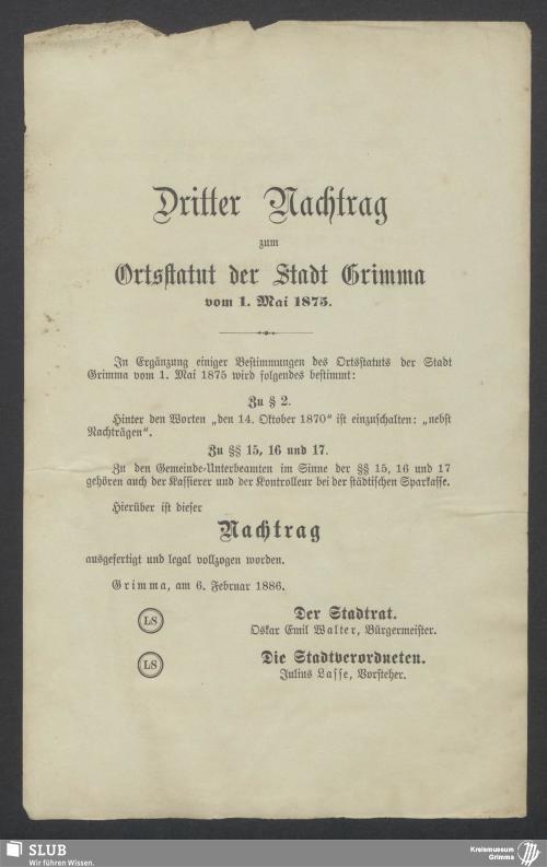 Vorschaubild von Dritter Nachtrag zum Ortsstatut der Stadt Grimma vom 1. Mai 1875