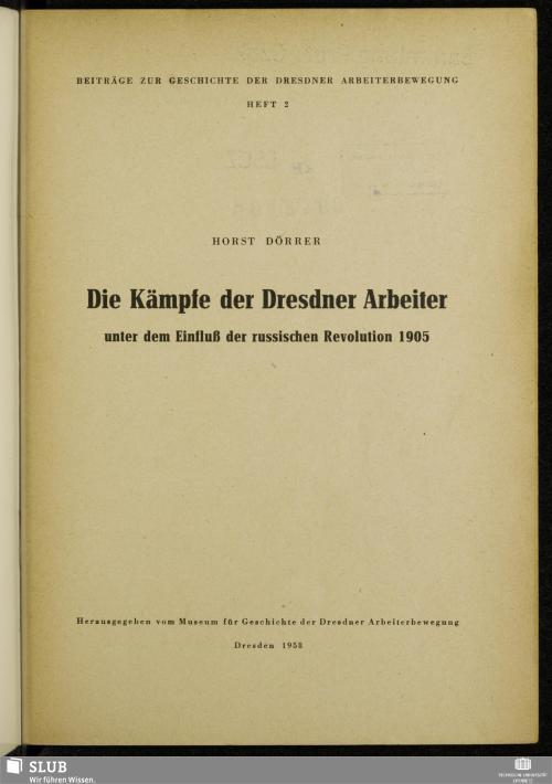 Vorschaubild von Die Kämpfe der Dresdner Arbeiter unter dem Einfluss der russischen Revolution 1905