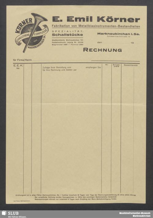 Vorschaubild von E. Emil Körner, Fabrikation von Metallblasinstrumenten-Bestandteilen, Markneukirchen i. Sa.