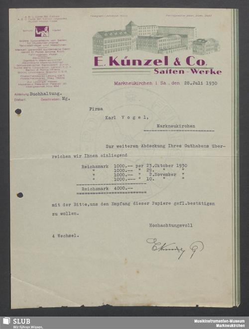 Vorschaubild von E. Künzel & Co., Saiten-Werke, Markneukirchen i. Sa.
