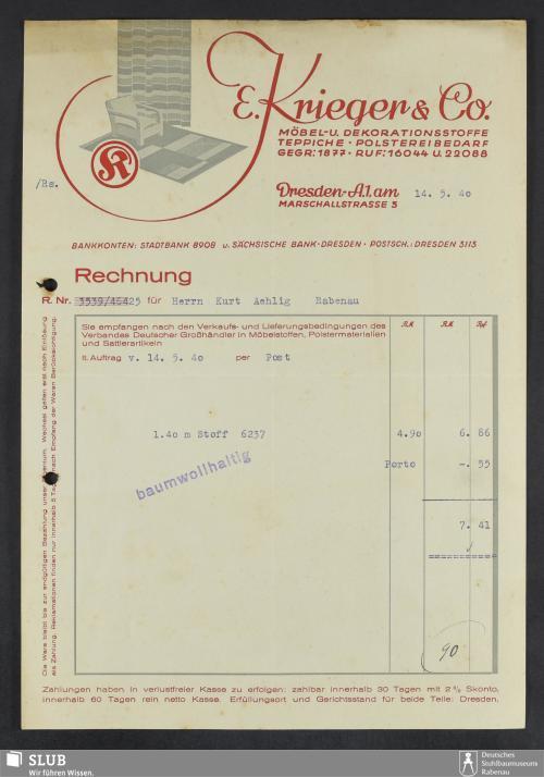 Vorschaubild von E. Krieger & Co., Möbel- und Dekorationsstoffe, Teppiche, Polstereibedarf
