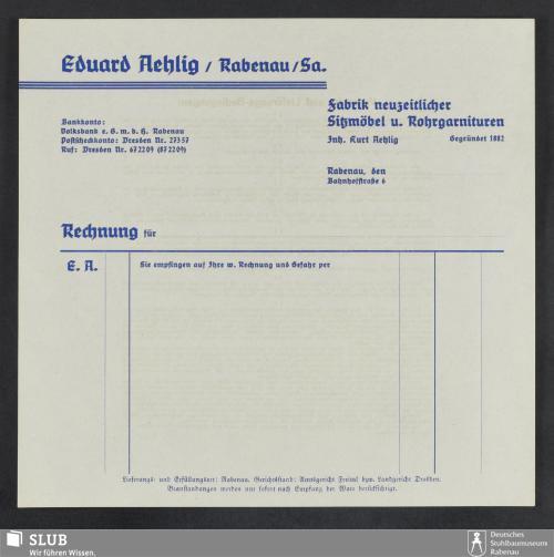 Vorschaubild von Eduard Aehlig, Rabenau/Sa., Fabrik neuzeitlicher Sitzmöbel u. Rohrgarnituren, Inh. Kurt Aehlig