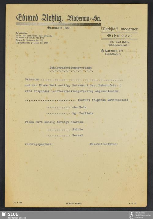 Vorschaubild von Eduard Aehlig, Rabenau Sa., Werkstatt moderner Sitzmöbel, Inh. Kurt Aehlig, Stuhlbauermeister