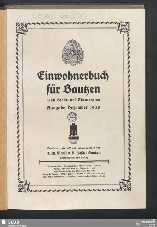 Vorschaubild von [Einwohnerbuch für Bautzen]