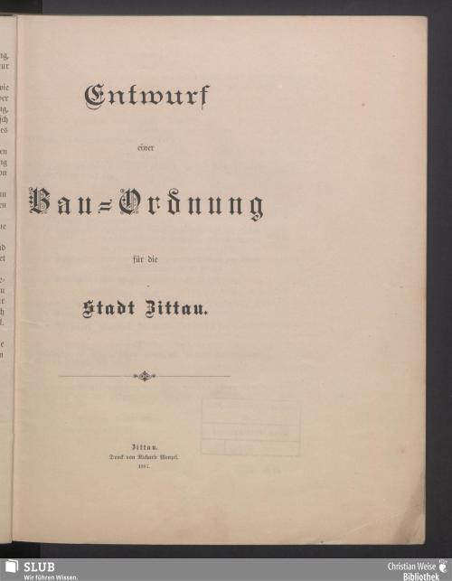 Vorschaubild von Entwurf einer Bau-Ordnung für die Stadt Zittau