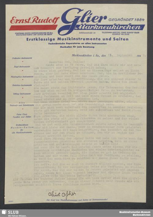Vorschaubild von Ernst Rudolf Glier, Markneukirchen, Erstklassige Musikinstrumente und Saiten