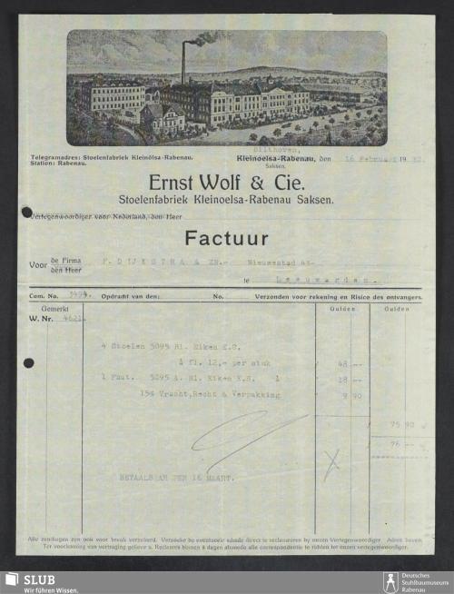 Vorschaubild von Ernst Wolf & Cie., Stoelenfabriek Kleinoelsa-Rabenau Saksen
