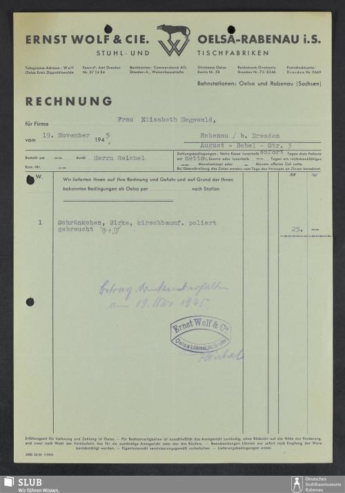 Vorschaubild von Ernst Wolf & Cie., Oelsa-Rabenau i.S., Stuhl- und Tischfabriken