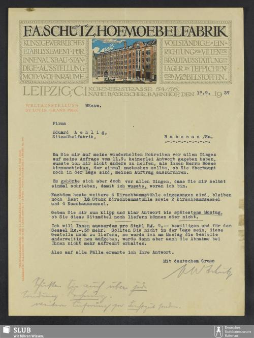 Vorschaubild von F.A. Schütz, Hofmöbelfabrik Leipzig, Kunstgewerbliches Etablissement für Innenausbau, ständige Ausstellung mod. Wohnräume