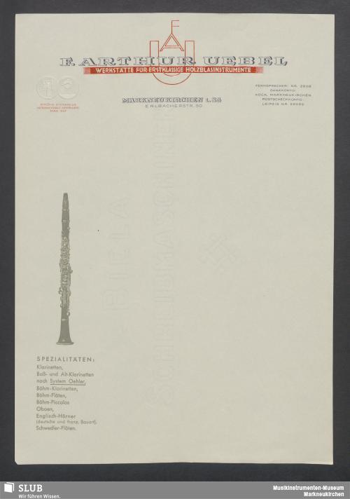 Vorschaubild von F. Arthur Uebel, Werkstätte für erstklassige Holzblasinstrumente, Markneukirchen i. Sa.