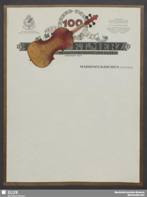Vorschaubild von F. T. Merz, Musikinstrumente und Saiten, Markneukirchen, Sachsen