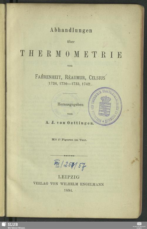 Vorschaubild von Abhandlungen über Thermometrie