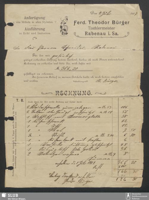 Vorschaubild von Ferd. Theodor Bürger, Tischlermeister, Rabenau i.Sa.